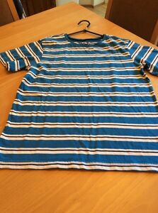 boys clothes 11-12 years Rebel Blue Navy White Striped Cotton Short Sleeved Top
