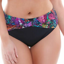 Elomi Swim Kaleidoscope Twist Front Bikini Brief Pant Black 7430 UK 26 - BNWT