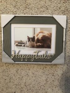 4x6 Happy Tails Dog/Cat Gray Rustic Finish Photo Frame 5x7 Mat Silver Attachment