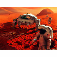 Space NASA Humans On Mars Planet Rover Illustration XL Wall Art Canvas Print