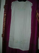 Vintage, Long White Cotton Nightgown, Never Worn, Sz. Small, W/ Embroidery,China