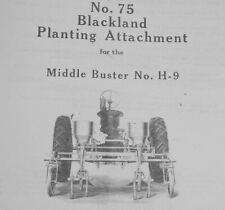 Mccormick No 75 Blackland Planter Manual For No H 9 Middle Buster Farmall H M