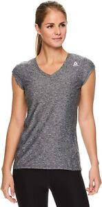 Reebok Womens Cap Sleeve Gym Workout T-Shirt Performance V-Neck Athletic Run