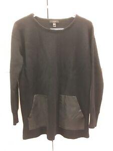 J. Crew Black Wool Crewneck Sweatshirt W/ Leather Pockets, Size Small