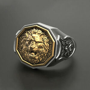 Fine Jewelry 18 Kt Real Solid White & Yellow Gold Lion Face Men'S Ring Size 9,10