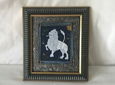 Framed Leo Star Sign Astrological Picture Hand Painted By Friar Crafts
