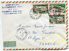 LETTRE PAR AVION ABIDJAN COTE D IVOIRE POUR LYON 1970