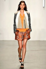 HELMUT LANG SS2013 RUNWAY FLUORESCENT ORANGE MEDALLION JACQUARD SHORTS Sz 2