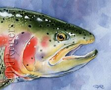 """Fly Fishing """"RAINBOW TROUT"""" Watercolor 8 x 10 ART Print Signed by Artist DJR"""