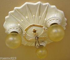 Vintage Lighting 1930s Art Deco porcelain by Porcelier.  Bath Kitchen Bedroom