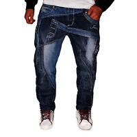 Herren Jeans Designer Kosmo Hose Cargo Style Blau Verwaschen Clubwear Lupo NEU