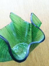 Chance Brothers Glass Handkerchief Vase Green Cotswold 1960s 1970s