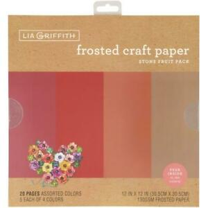 """Lia Griffith 12"""" Frosted Craft Paper Stone Fruits   12""""x12"""", 20pk"""