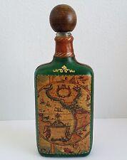Fausto Conturi Genuine Leather Decanter Decorative Bottle Green Gold Italian