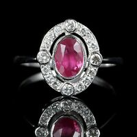 ANTIQUE VICTORIAN RUBY DIAMOND RING 18CT WHITE GOLD