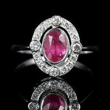 Antico Vittoriano Rubino Anello di diamanti oro bianco 18CT