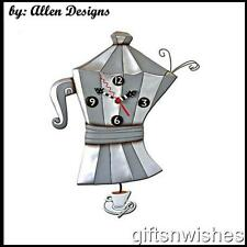 Groovy & Quirky BREW POT Coffee Pot Pendulum Allen Designs Wall Clock