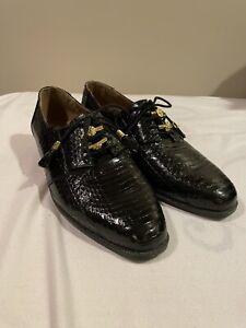 Genuine SNAKESKIN Giorgio Brutini Private Collection black Oxford dress Shoes 9