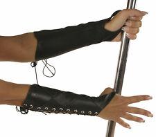 Ledapol 5522 Leder Handschuhe Armstulpen mit Schnürung Gr. S SCHWARZ