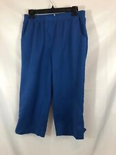 Allison Daley Womens Size 8 Blue Elastic Waist Pull-On Cropped Chino Pants