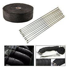 "2"" 50Ft Exhaust Manifold Header Black Pipe Heat Wrap Tape+10 Ties Kit HIGH TEMP"