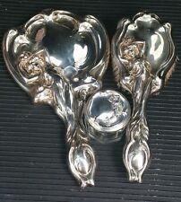 Art Nouveau Sterling Silver Vanity Mirror & Brush set Repousse Maiden Gorgeous