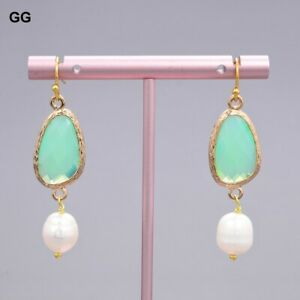 Natural White Rice Pearl Green Crystal Opal Gold Plated Earrings Cute For Girls