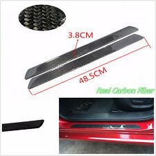 2 X 49cm Real Carbon Fiber Car Door Scuff Plate Sill Cover Panel Protector Decal