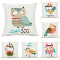 Cartoon Animal Owl Cotton Linen Pillow Case Sofa Waist Cushion Cover Home Decor