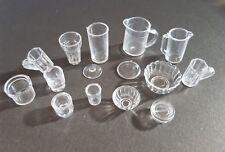 15pcs DOLLS HOUSE JUG/CUPS/GLASSES/DISH-PLASTIC MINATURE-MINI/SMALL-1:12 SCALE