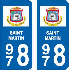 Département 978 sticker 2 autocollants style immatriculation AUTO  SAINT MARTIN