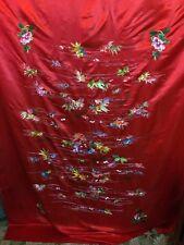 Chal de piano antiguo tapiz normalmente espléndido Hoja de Boda de Seda Bordado A Mano
