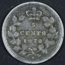 1872 H Canada 5 Cents Silver Coin - Victoria