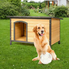 New Outdoor Large Wood Dog House Extreme Weather Resistant Pet Log Cabin Home