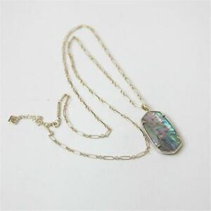 Kendra Scott Faceted Reid Gold Long Pendant Necklace in Lilac Abalone