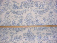 5-1/4Y GP & J Baker A1036 Children At Play Blue Country Toile Upholstery Fabric