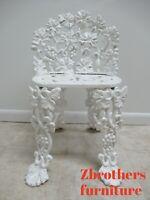 Antique Victorian Cast Iron Pierce Carved Garden Seat Bench Chair Grapes Vines B