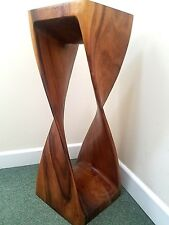 Large Twisted Side Table/Stool Hand Carved Acacia Wood/Honey Finish/76x28x28
