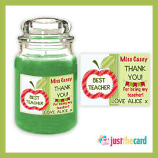 Personalised School Teacher Thank You Best Teacher Candle Label