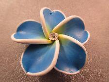 Hawaii Plumeria Flower Polymer Clay w/ Rhinestone 38mm Blue Pendant 1pc