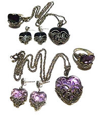 AMETHYST OR ONYX MARCASITE STERLING SILVER HEART EARRINGS NECKLACE RING SET LOT