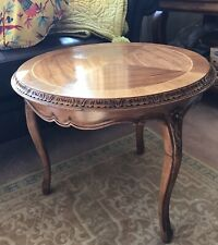 More details for antique victorian era french mahogany round coffee table ornate flower carving