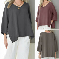 ZANZEA Womens V-Neck 3/4 Sleeve Casual Loose Blouse Tops Oversized Split Shirt