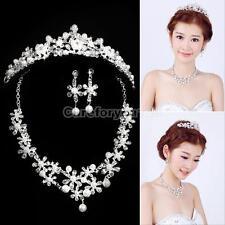 Pearl Crystal Rhinestone Necklace Earring Crown Tiara Set Bridal Wedding Jewelry