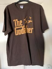 RARE OFFICIAL The Godfather Logo Men's Brown T Shirt L Large New Mafia BRANDO