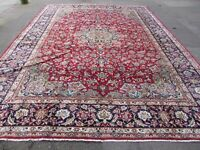 Vintage Hand Made Traditional Rug Oriental Wool Red Blue Large Carpet 405x303cm