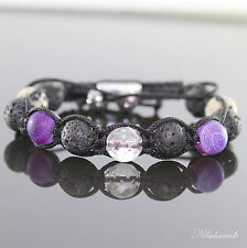 Damen Lila Craved Frosted Lava Beads Shamballa Armband Kristall Perl  für Frauen