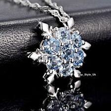 XMAS Frozen Snowflake Blue Crystals Silver Necklaces Gifts For Her Women A114