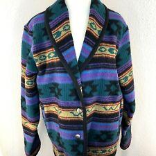 Vintage Woolrich Medium Blanket Jacket Coat Southwestern Wool Blend Blue Green