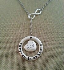 Dad Father Forever In My Heart Memorial Loss Infinity Lariat Style Necklace
